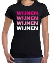 Verkleedkleding wijnen wijnen wijnen wijnen t-shirt zwart dames
