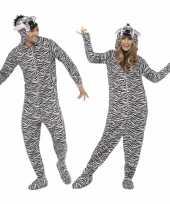 Verkleedkleding zebra onesie volwassenen