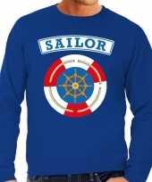 Verkleedkleding zeeman sailor verkleed sweater blauw heren